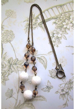 Collier bracelet bronze perles neiges