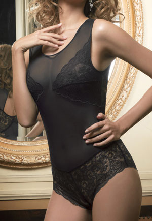 Body dentelle shorty noir Midnight Luna