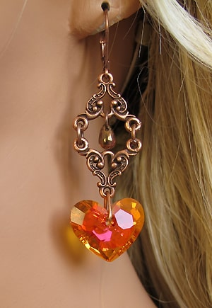 Boucle d'oreille baroque orange Pamplemousse