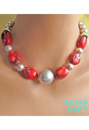 Collier corail bamboo rouge Roll