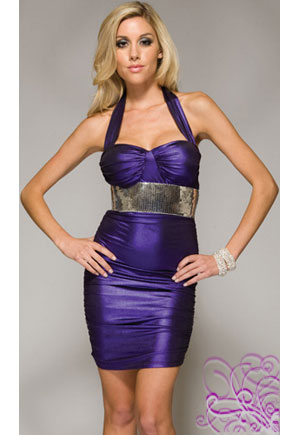 Robe bustier purple plissée