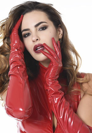 Gants longs en vinyl rouge Catanzaro