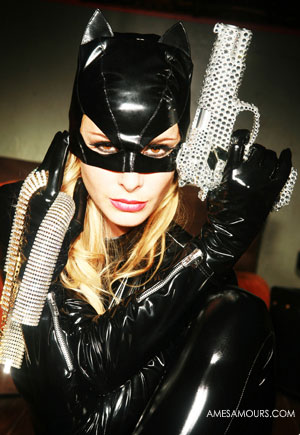 Masque cat woman vinyl noir Chat