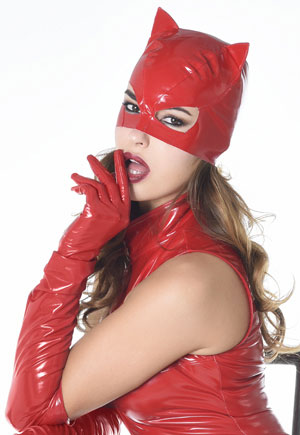 Masque cat woman vinyl rouge Chat