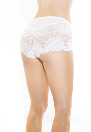 Culotte taille haute blanche dentelle transparence