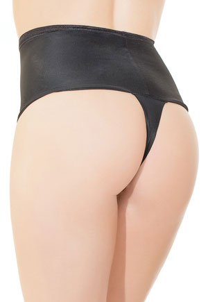 Tanga noir stretch Taille Haute