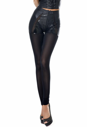 Leggings Felicity cuir simili voile zippé Catanzaro