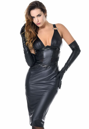 Robe corset cuir simili zippé Holly Catanzaro