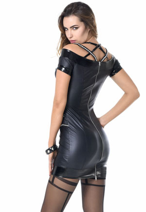 Robe cuir simili double zip Shania Catanzaro