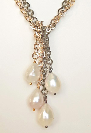 Collier Perles naturelles blanches 2 rangs DL