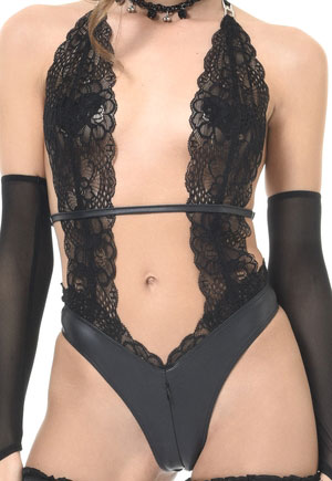 Body Camille cuir simili dentelle zippé Catanzaro