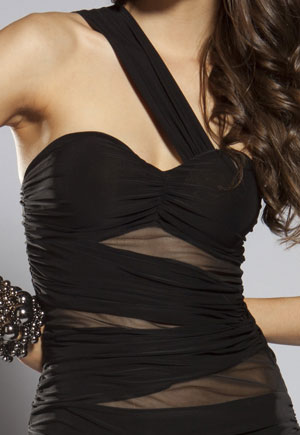 Robe bustier noire voile contrastant Barth