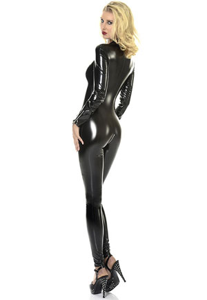 Combinaison vinyl noir Sweety Cat suit